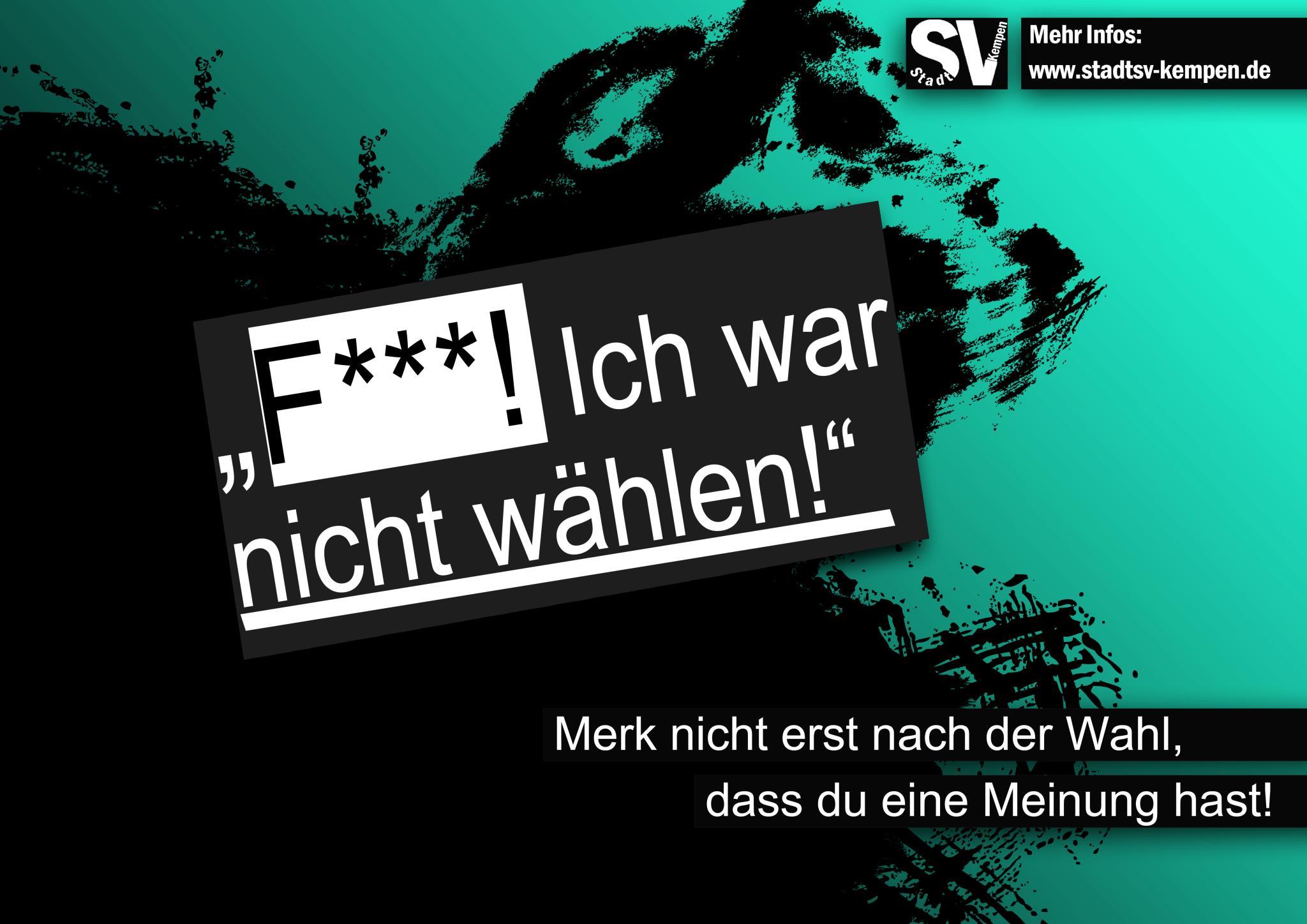 F***! Ich war nicht wählen! - Wahlplakat